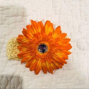 NWOT Yellow Baby Headband Big Orange Flower Fall